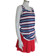 Vintage 1970s Red White and Blue Stripe Knit Tank Top S M