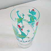 Authentic Vintage 1950s Barware Bar Ware Martini Cocktail Shaker with Bright Graphics Rooster