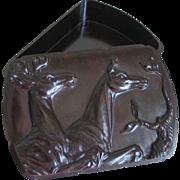 SALE Vintage Hickok Dark Brown Espresso Bakelite Dresser Box with Deer Relief Stag Buck Doe