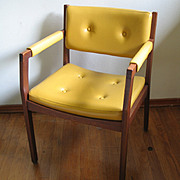 Vintage Authentic MCM 1950s 1960s Mid-Century Modern Wood Chair with Upholstered Seat Back and