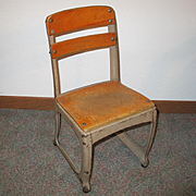 Vintage 1940s Child's Wood and Metal School Chair