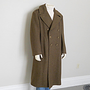 Authentic Vintage 1940s WWII Army Fatigue Olive Green Military Issue Winter Wool Double Breast