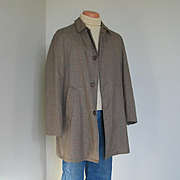 Vintage 1960s Campus All Weather Brown and Orange Glen Plaid Coat M L