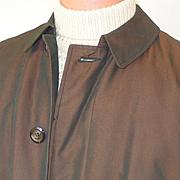 Vintage Copper Sharkskin Raincoat Briarcliff All Weather Faux Fur Removable Liner Coat Mens Ra