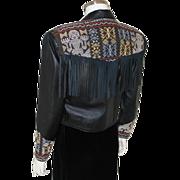 Vintage 1990 Black Fringe Leather Jacket with Authentic Balinese Ikat Trim M