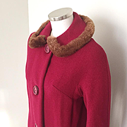 Vintage 1960s Cranberry Textured Red Wool Coat with Brown Faux Fur Trimmed Collar S M