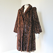 Vintage 1940s Marmot Fur Coat Bell Sleeve Wing Collar Padded Shoulders M L