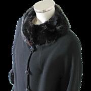 Vintage 1960s American Design Frank Gallant Black Wool Coat with Fur Trim M L