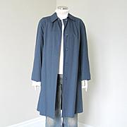 Vintage 1960s Womenswear Serge Navy Blue Rain Coat Raincoat Wamsutta  M