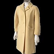 Vintage 1960s Modern Sculpted Bettijean Spring Yellow Boucle Slubbed Coat M