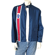 Vintage 1970s Red White Blue Pabst Blue Ribbon Windbreaker Race Jacket Swingster