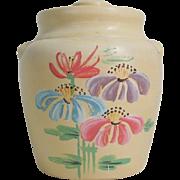 SALE Vintage 1930s Ceramic Handpainted Cookie Jar with Flowers