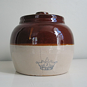 Vintage Rustic Brown n Tan Ransbottom Stoneware Ceramic Bean Pot