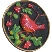 Vintage 1940s Red Bird on a Branch Chalk Ware Plaster Wall Plaque
