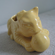 Vintage Yellow Ceramic Cat Planter Vase Business Card Holder Figurine