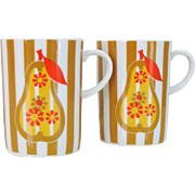 Vintage 1960s 1970s Mod Pear and Stripes Pair of Coffee Tea Mugs