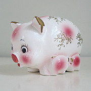Vintage White and Pink Ceramic Piggy Bank Mama with 2 Baby Piglets by Her Side