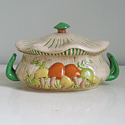 Vintage 1970s Mushroom Design Handled Serving Dish Soup Tureen Server with Lid