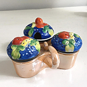 Vintage 1950s 1960s Hand Painted Gold Castle Japan Lusterware Porcelain Condiment Server with