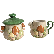 Vintage 1970s Ceramic Pottery Mushroom Sugar and Creamer Set