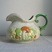 Vintage 1970s Ceramic Pottery Mushroom Beverage Pitcher Orange Green Tan