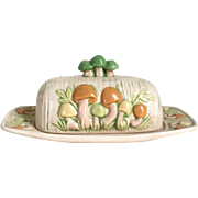 Vintage 1970s Ceramic Pottery Mushroom Butter Tray Set