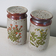 Vintage 1970s Green Garden Herb Transfer Ceramic Salt & Pepper Shaker Set