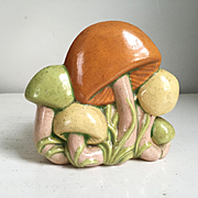 Vintage 1970s Ceramic Mushroom Napkin Holder Orange Green Yellow