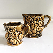 Vintage 1960s Pair of Harvest Gold Daisy and Fruit Measuring Cups Pitchers