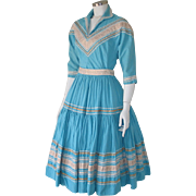 Authentic Vintage 1940s Turquoise 2 Piece Patio Dress Trimmed in White Gold S M