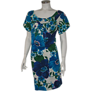 SOLD Authentic Vintage 1960s Blue Floral Print Tiki Dress by Alice L XL