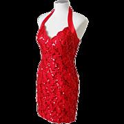 Vintage 1970s Bari-Jay Lipstick Red Sequinned Body Hugging Halter Cocktail Dress S
