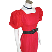 Vintage Early 1960s Crisp Holly Red Party Dress with Lace Over Skirt and Huge Puff ...