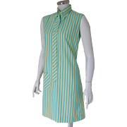 Authentic Vintage 1960s Yellow Turquoise Striped Shift Shirt Dress by Terry M