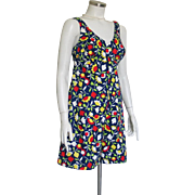 Vintage Carol Brent Summer Cotton Romper Culotte Dress Jumpsuit Deep V Front Square Back ...