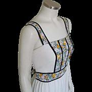 Vintage 1970s Crinkle Gauze Tie Back Sundress with Dark Black Floral Print and Velveteen Trim