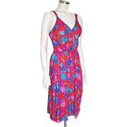 Vintage 1970s Red Purple Blue Floral Print Knit Summer Sun Dress S M