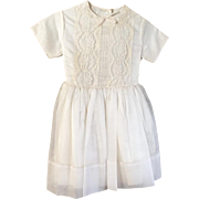 Vintage 1960s 1961 Flower Girl First Communion Little Girls White Dress with Lace Trim 6X Kate
