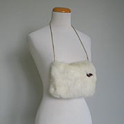 Vintage 1950s Small Winter White Fur Muff with Brown Accent