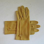 SALE Vintage Early 1950s Harvest Gold Gloves Cafe Shortie