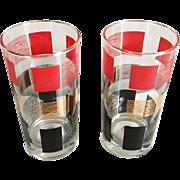 Pair of Vintage Modern MCM Beverage Glasses Gold Red Black on Clear Glass 1950s