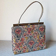 SALE Authentic Vintage 1960s Cocoa Copper Autumn Tapestry Brocade Kelly Handbag Purse
