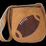 Vintage 1970s Suede Novelty Brown Football Shoulder Bag Purse