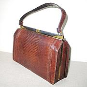 Vintage 1960s Reptile Embossed Vinyl Boxy Handbag Kelly Purse