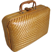 Vintage 1970s Woven Straw Bamboo Summer Purse Handbag