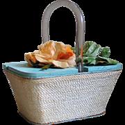 Vintage Aqua Blue Beach Wood Box Handbag Purse Orange Sherbet Pistachio Flower Top  Cream Rope