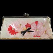 Vintage 1960s Kitschy Pink Flowers Vinyl Envelope Purse Clutch Handbag