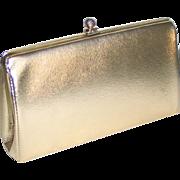 Vintage 1960s Shiny Gold Evening Purse Clutch Envelope Handbag