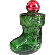 Vintage 1970s Avon Clear Green Glass Stocking Boot Perfume Bottle with Red Shiny Ornament Ball