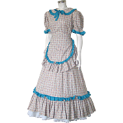 Vintage 1970s Cotton Little House On The Prairie Dress with Matching Apron L XL